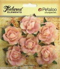 Rose Canvas GARDEN Rosettes x 6 PINK Approx 35mm Textured Elements Petaloo LB/P