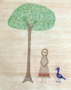 """Keiko Minami signed etching """"Girl, Tree, Bird"""" ~ 18/150 ~ Japanese"""