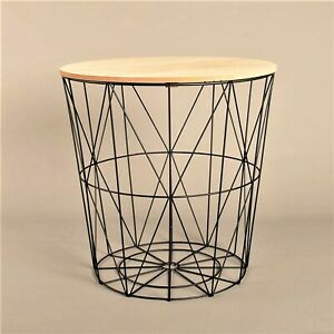 Brown Wooden Top Black Wire Storage Basket Round End Side Table Home Furniture