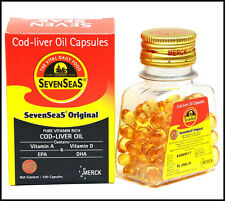 2 Pack Original Seven Sea Cod Liver Oil Soft-gel-Omega-3, DHA, EPA,Vitamin A & D