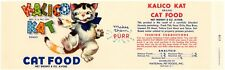 GENUINE VINTAGE CAN LABEL CAT FOOD 1958 KALICO CAT BUFFALO NEW YORK PET PURR