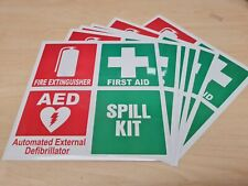 FIRST AID & FIRE EXTINGUISHER Sticker Decal Sign Set OHS WHS 100x100mm each