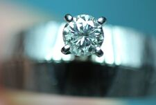Vintage Round Diamond Solitaire 14K White Gold Engagement Ring Wedding Band Set