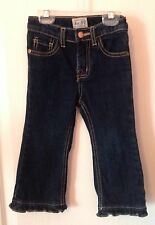 EUC $18 Place Girls Dark Wash Ruffled Flare Blue Jeans 18 Months Worn Once