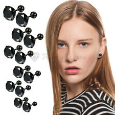 316L Surgical Steel Pure Black Round Cartilage Cubic Zirconia Ear Stud Earrings