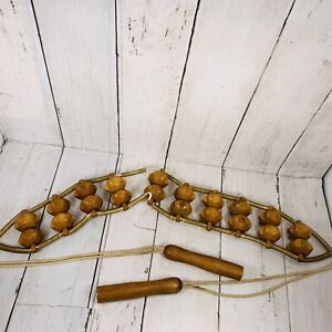 """Wood Bead Personal Neck Back Massager  Handheld 50"""" Wooden Jump Rope Handles"""