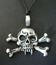 SKULL AND CROSSBONE NECKLACE 4cm PEWTER PENDANT PIRATE FANCY DRESS PARTY