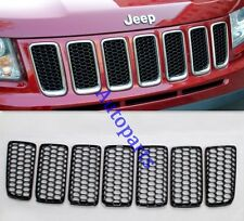 Black Front Grille Honeycomb Mesh Grid hole Cover Trim For Jeep Compass 2011-16