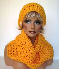 GOLDEN YELLOW CROCHET HAT AND INFINITY SCARF SET BEANIE BERET TAM SKI CAP CLOCH