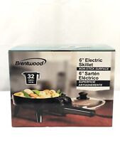 """Brentwood SK-45 6"""" Black Non-Stick Electric Skillet With Glass Lid New"""