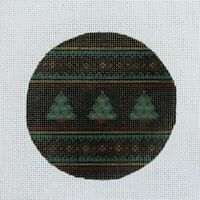 Handpainted Needlepoint Canvas Ornament Christmas Tree Fancy Carole 390W