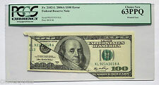 2006 $100 Federal Reserve Error Note ♚♚Printed Tear♚♚ Pcgs Gem Choice New 63 Ppq