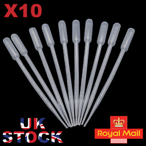 """10 x 10ml LARGE PLASTIC PIPETTES 11.5"""" LONG PIPPETTE UK SELLER FREE POSTAGE"""