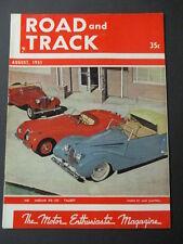 Vintage Road & Track Magazine August 1951