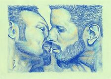 Original Gay Art, Muscle Men Kissing, Pencil Drawing, LGBT, Male Nude Painting