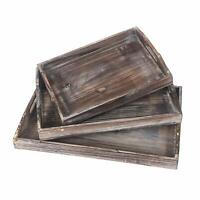 Xmas Gift Wood Serving Tray Stackable Carrying With Routed Handles Fast Set of 3