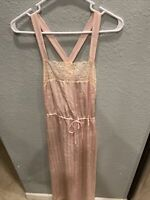 Vtg Christian DIOR NIGHTGOWN Size L Lace Trim Gown  Tied On Waist Crisscross