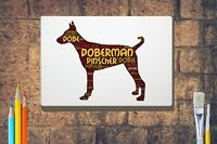 Doberman Pinscher Word Art Canvas A4A3A2A1 Mothers Day Gift Personalised Option