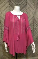 Great Northwest Indigo Womens 3X Pink Boho Gypsy Blouse