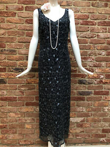 NEXT Vintage Grey Sequins Flapper Gatsby 1920s Charleston Party Dress Size 12