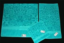 3 Boho Turquoise Teal Sculpted Velour Floral Bath Hand Towels Wash Cloth NWT