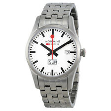 Mondaine Retro Day and Date White Dial Stainless Steel Mens Watch A6673034016SBM