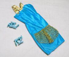 Barbie Doll Aqua Short Older Mini Dress Gold Trim + Shoes