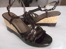 Van Eli Women's Brown Open Toe Ankle Strap Wedge Heels Sandals 7M