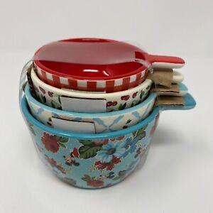 Disney Parks Mickey Minnie Cherry Floral Gingham Retro Ceramic Measuring Cup Set