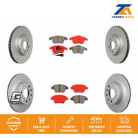 Front Rear Coated Disc Rotors & Semi-Metallic Brake Pads Fits Volkswagen Passat