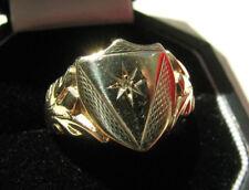 9ct Oro Diamantes Anillo Escudo Signet Londres 1962 5g Talla Q 1/4 US 8.50 Buen & Menta