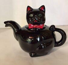 1950's Redware Black Cat Teapot (Green Eyes)
