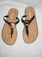 Michael Kors Jet Set MK Charm Cork Insole Jelly PVC Black Sandals 6 M  NIB