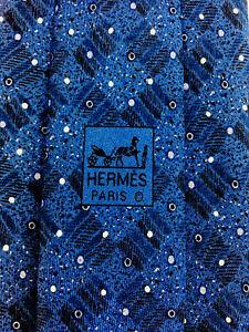 """HERMES TIE 7889 MA 100% Silk Dark Blue Tie """"Dots/geometric"""" pattern NIB NO TAGS"""