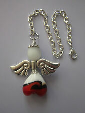 Car mirror charm Guardian Angel/Fairy  Pendant hanging ornament gift red white,