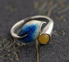Beautiful Sterling Silver Adjustable Lotus Leaf Ring Yellow Chalcedony Stone