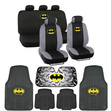 Batman Low Back Seat Covers Rubber Floor Mats Auto Shade - 14 Piece Set