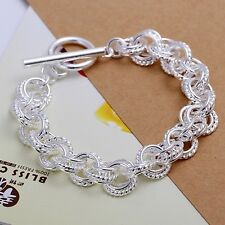 Bracelet T-Bar Multi Chain Link 925 Sterling Silver Plated Textured Casual Gift