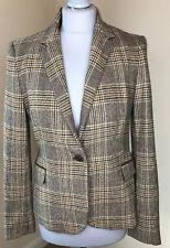 ZARA L Wool Blend Tweed Blazer Jacket Coat Elbow Patch Brown Check Country Farm