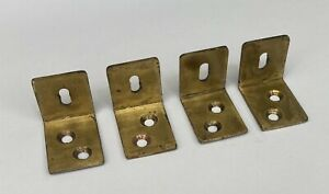 4 x Solid Brass Vintage Angle Brackets Stretcher Plates Slotted Expansion 1950s