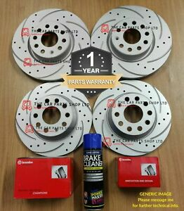 FOR VW GOLF R MK7 FRONT & REAR BOSCH DRILLED GROOVED DISCS & BREMBO PADS OEM