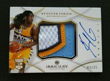 KENNETH FARIED 2012-13 PANINI IMMACULATE ROOKIE AUTO PATCH RC JERSEY #43/75! RPA