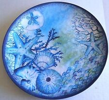"COASTAL Melamine Round Serving Tray  BLUE STARFISH 17.8"" Diameter"