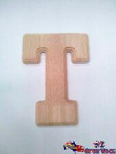 "Large Oak Wood Alphabet Letter ""T"" Natural Brown Uppercase Home Decor Art Craft"