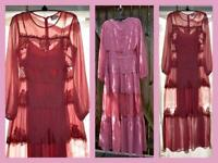 New ASOS rose lace sheer tiered long sleeve maxi prairie romance dress 4