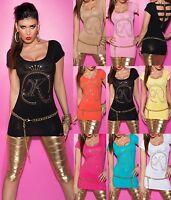 Koucla Shirt Top  T-Shirt mit Strass, Nieten und Zip