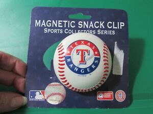 """NEW/unused TEXAS RANGERS baseball magnetic snack/chip clip - about 3"""" round"""
