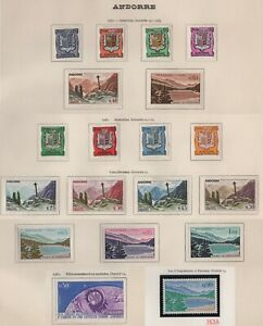 timbres Andorre Français 1961-62 • Yvert n° 153A à 165 • NEUFS