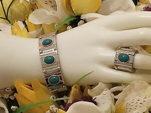 9ct Turquoise Bracelet & Ring Mother's Day Jewelry Her Mom  Gift 19mm HANDMADE