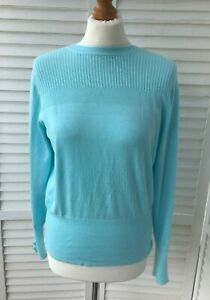 M&S Collection Size 12 Baby Sky Blue Pointelle Jumper Patterned Knit Pretty